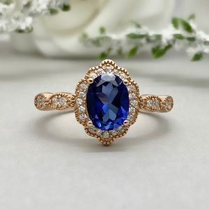 Oval Blue Sapphire Rose Gold CZ 925 Silver Ring